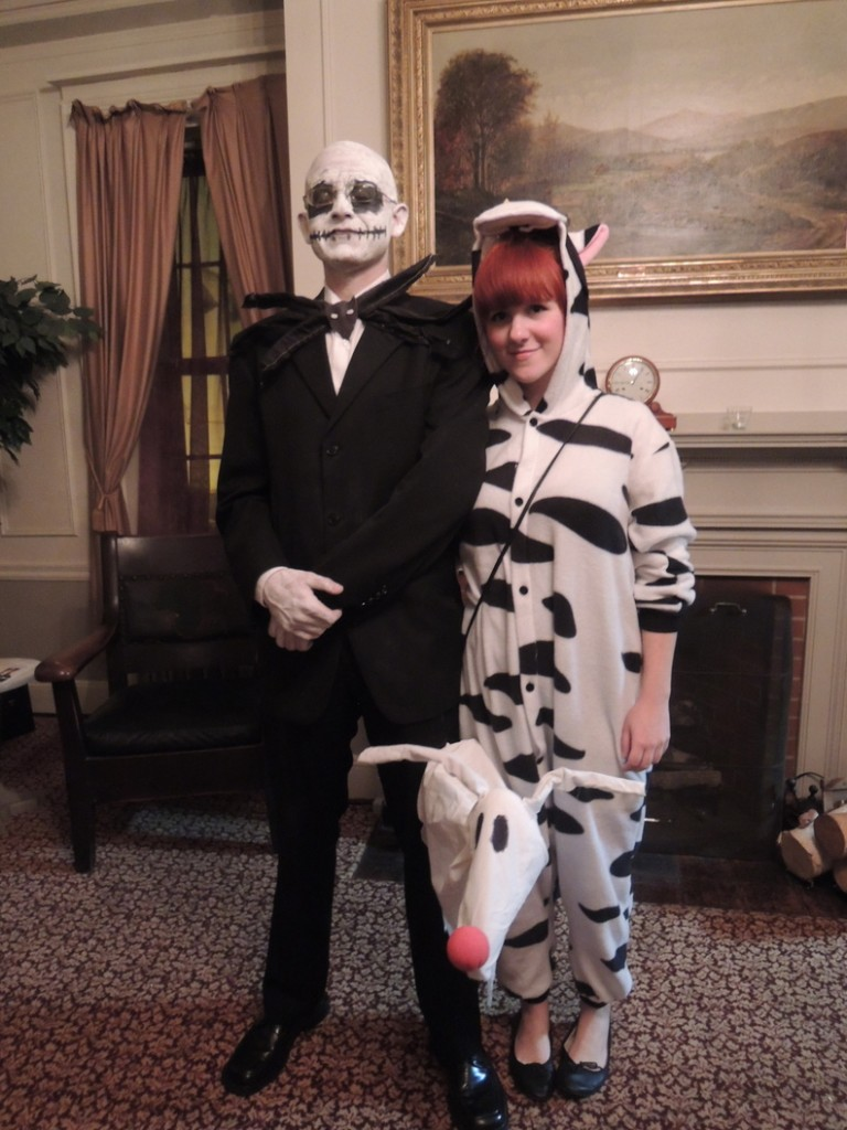 Goodwill employees Manny Archibald and Mindy Heselton color-coordinated as Jack Skellington and a cow.