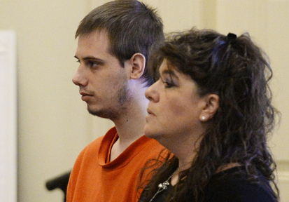 Gordon Collins-Faunce appears in York County Superior Court in Alfred with his attorney Amy Fairfield on Wednesday, when he pleaded guilty to killing his infant son last year.