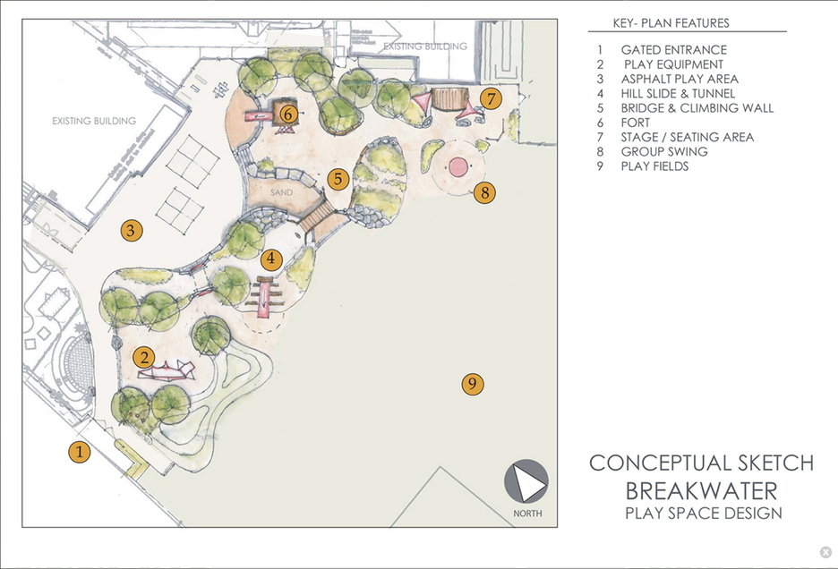 This sketch of the Nason's Park renovation plan includes a larger multi-purpose play and learning area with a hill slide, tunnel, climbing wall, stage, fort, group swings and play fields.