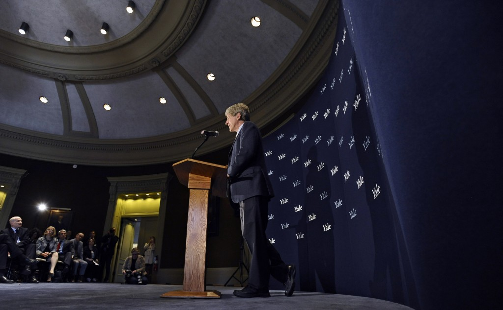 Economist, author and Yale University professor Robert Shiller speaks at a news conference on campus, Monday, Oct. 14, 2013, in New Haven, Conn. Americans Shiller, Eugene Fama and Lars Peter Hansen have won the Nobel prize in economics.
