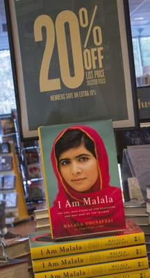 """Copies of """"I Am Malala,"""" the memoir by Malala Yousafzai, at a book store in Manhattan recently. The book hit shelves around the world on Tuesday."""