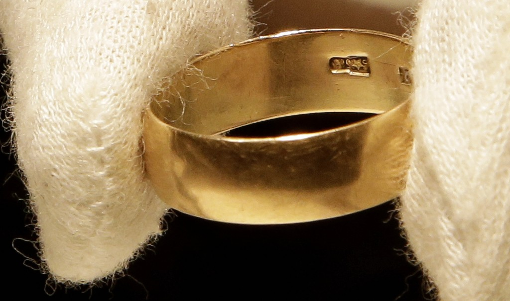 """Lee Harvey Oswald's wedding ring, which he left at his wife Marina Oswald's bedside the morning of the assassination of President John F. Kennedy, was part of a themed JFK memorabilia auction """"Camelot: Fifty Years After Dallas"""" at the Omni Parker House hotel in Boston. Engraved on the inside of the ring is a Star of Russia."""