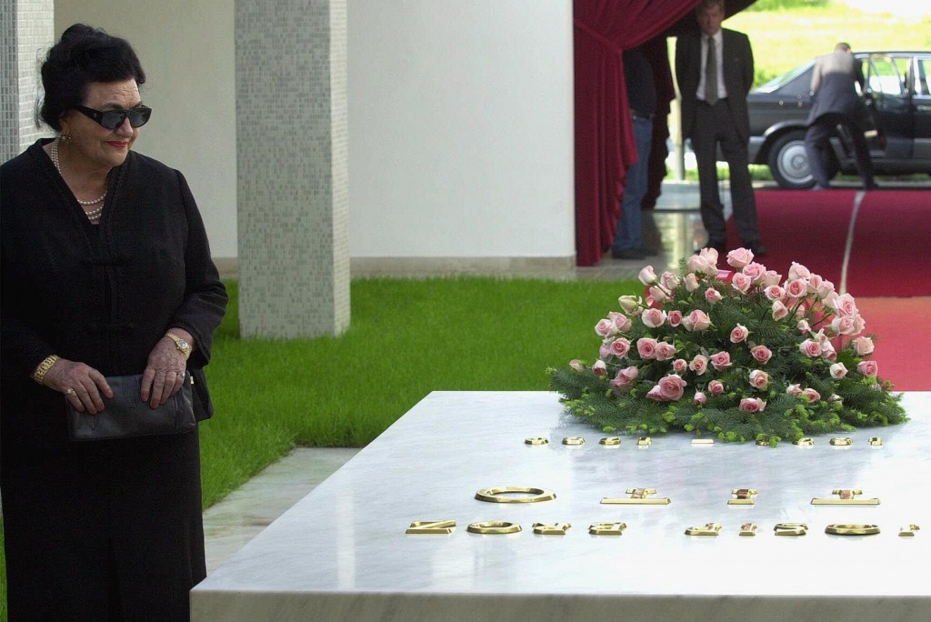 In this May 2001 file photo, Jovanka Broz, the widow of former Yugoslav President Josip Broz Tito stands by his tomb after laying a wreath during a ceremony in Belgrade, Serbia. Hospital officials announced on Sunday that Jovanka Broz, the widow of former Yugoslav dictator Josip Broz Tito, has died. She was 88.