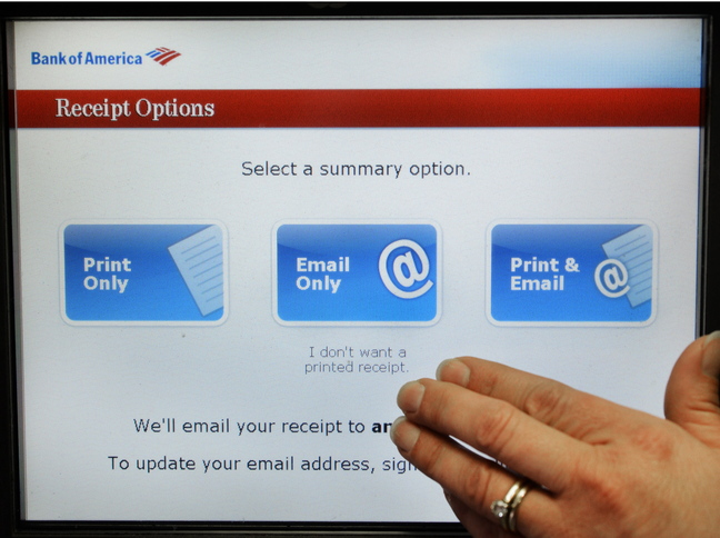 An ATM at Bank of America at One City Center in Portland offers receipt options. Companies may use digital receipts to look tech-savvy and green – and to obtain customers' email addresses.