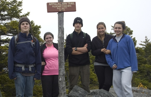 The Oxford Hills High outing club celebrated this week atop Pleasant Pond Mountain on the Appalachian Trail. The club was one of several that attended a rendezvous for high school outing clubs that was hosted by Teens To Trails.