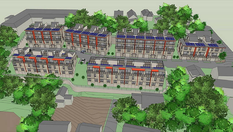 An artist's rendering shows a view of Munjoy Heights, a 29-townhouse condominium development proposed for Walnut Street in Portland.