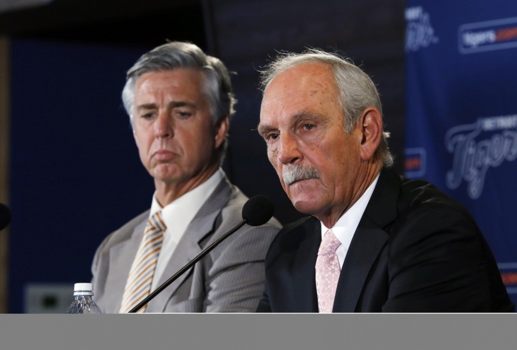 Detroit Tigers manager Jim Leyland, right, announces he is stepping down as manager as general manager David Dombrowski, left, listens during a news conference at Comerica Park in Detroit, Monday, Oct. 21, 2013. Leyland is stepping down after eight seasons that included three division titles and two trips to the World Series.