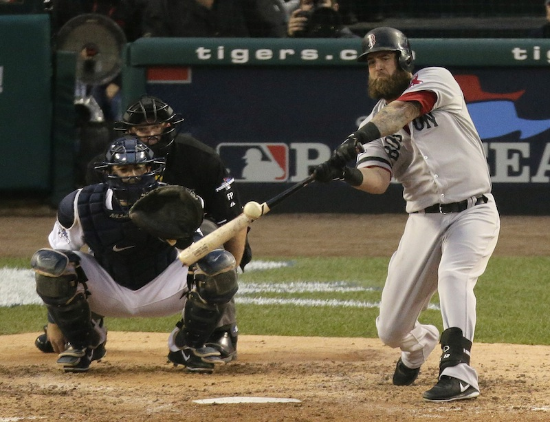 Boston's Mike Napoli hits a home run in the seventh inning of Game 3 of the American League baseball championship series against the Detroit Tigers Tuesday in Detroit.