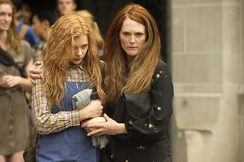 """Chloe Moretz, left, and Julianne Moore in """"Carrie,"""" a remake of the 1976 horror film based on the Stephen King novel. MGM Approved"""