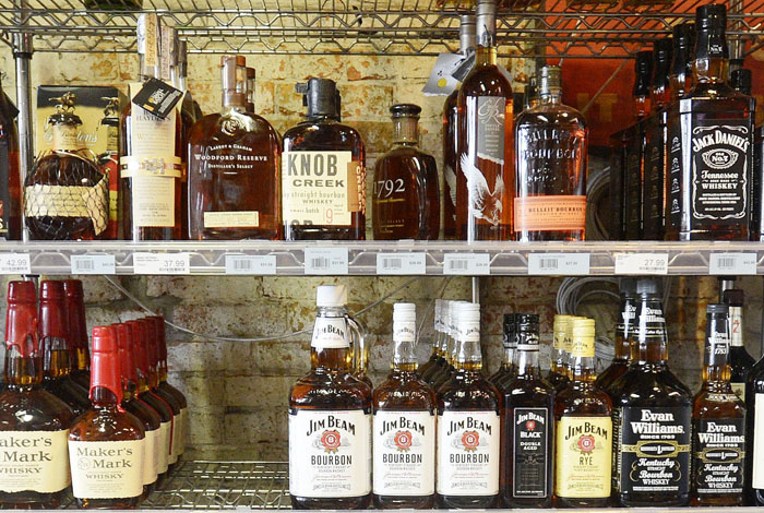 In this September 2012 file photo, liquor is on display at Downeast Beverage on Commercial Street in Portland.