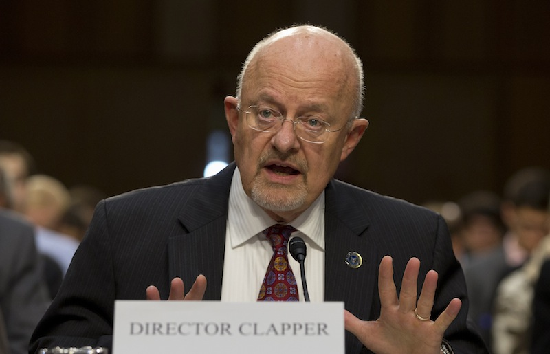 Director of National Intelligence James Clapper testifies on Capitol Hill in Washington on Sept. 26 before the Senate Intelligence Committee hearing on the Foreign Intelligence Surveillance Act and National Security Agency call records. Clapper told lawmakers he's willing to consider limits on surveillance by the National Security Agency.