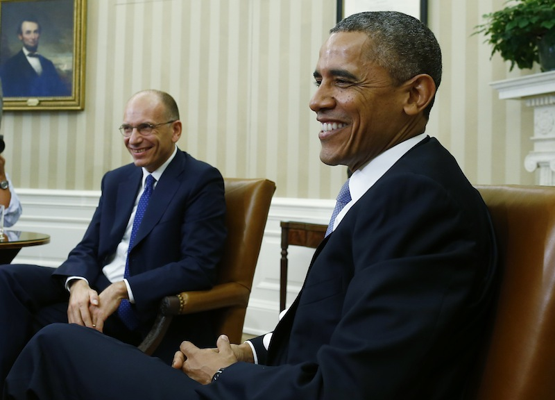 President Barack Obama meets with Italy's Prime Minister Enrico Letta in the Oval Office at the White House in Washington, Thursday, Oct. 17, 2013. President Obama and congressional leaders sought Thursday to move beyond the cycle of crisis that has paralyzed Washington for three years, initiating talks over the broad issues at the heart of their fight: the size of government and the level of federal taxation.
