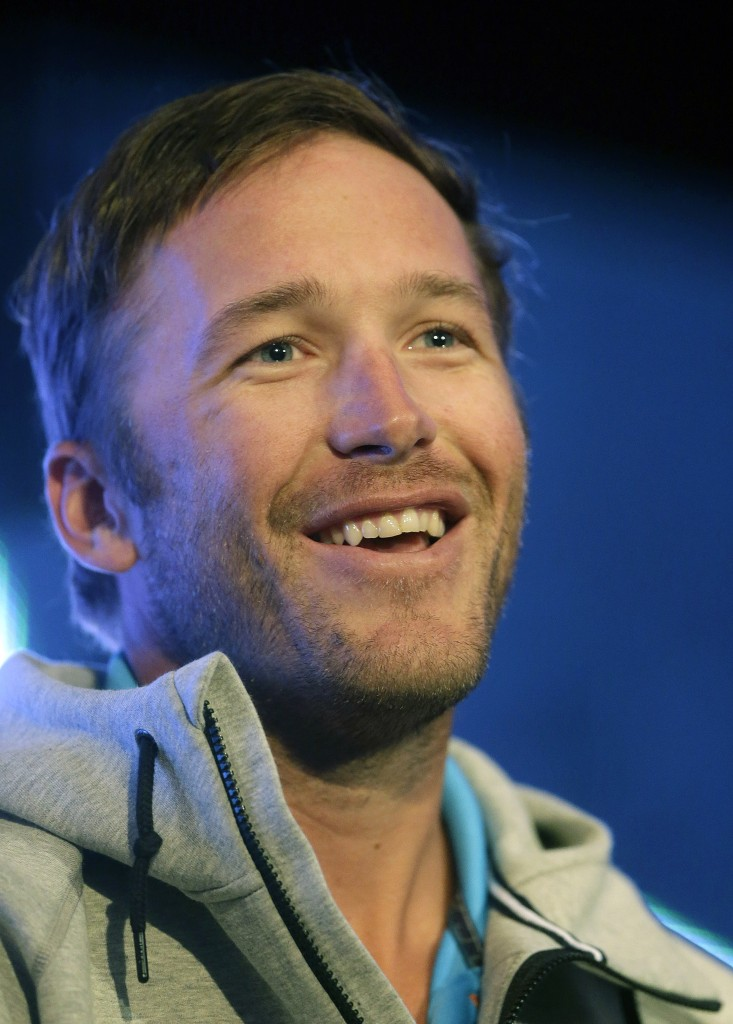Championship gold medalist skier Bode Miller speaks during a news conference at the USOC 2013 team USA media summit on Monday in Park City, in Utah.