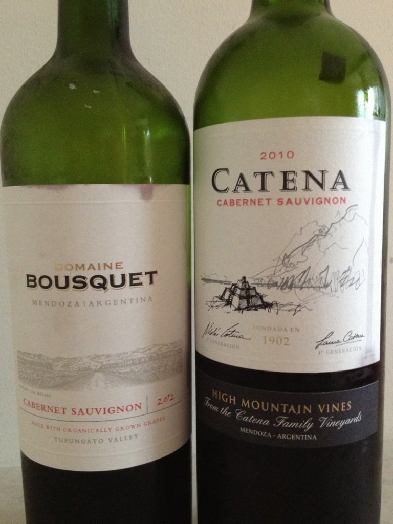 Two everyday wines: The Domaine Bousquet is a bit less controlled than Catena's Cabernet Sauvignon, which is approachable, but not boring.