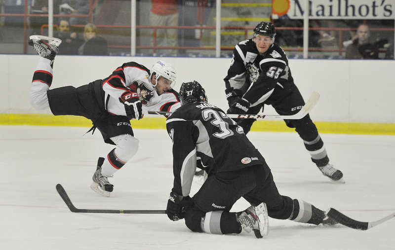 Tobias Rieder, playing his first game in the American Hockey League, finds enough space to get off the shot that gave the Portland Pirates a 1-0 lead Wednesday night in the opener against the Manchester Monarchs in Lewiston.