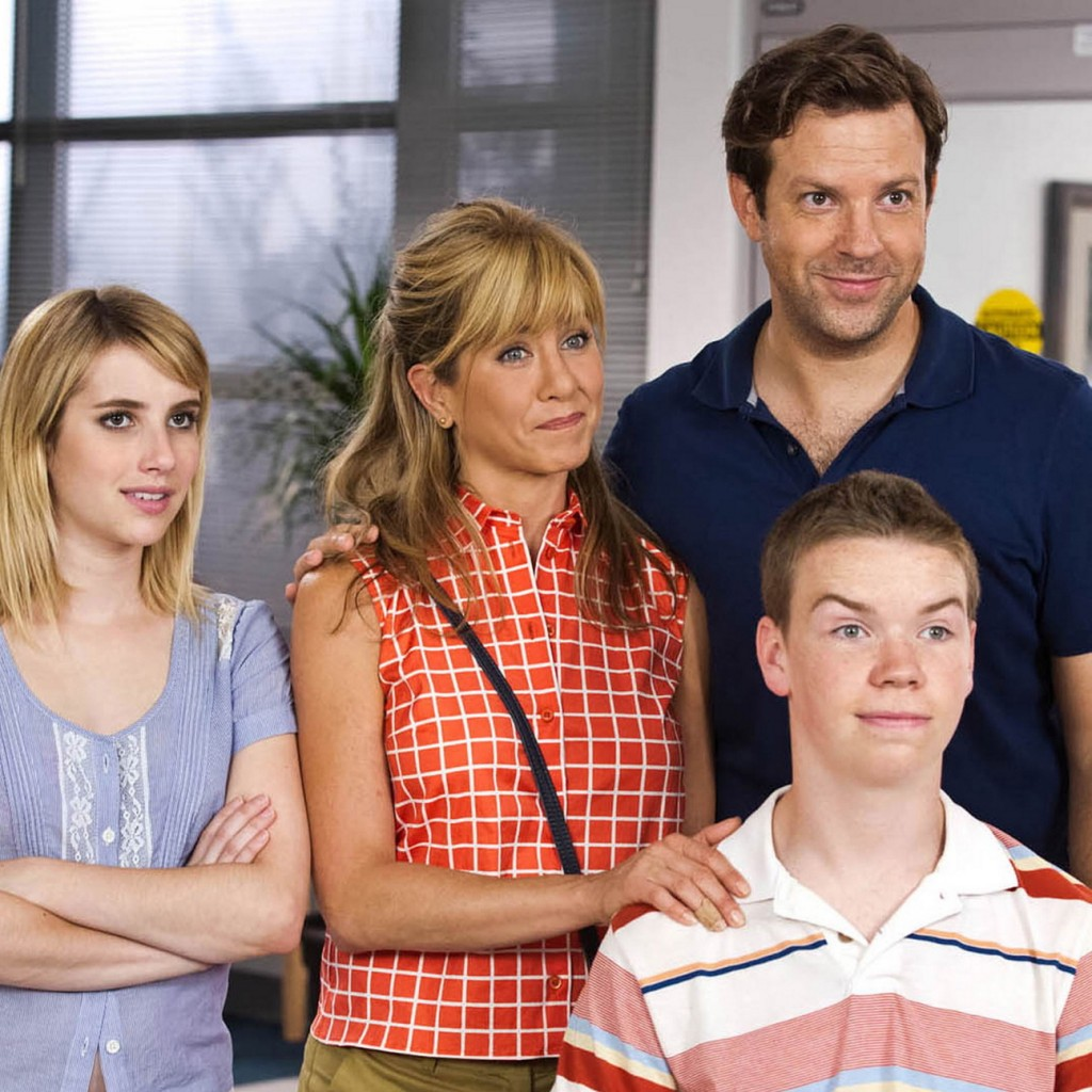 """Emma Roberts, Jennifer Aniston, Jason Sudeikis and Will Poulter in """"We're the Millers."""""""