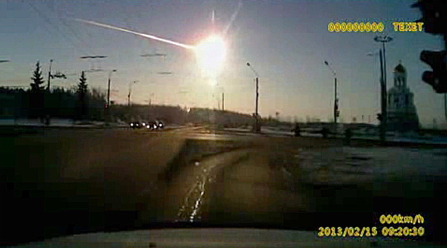In this screen image made from a dashboard camera video shows a meteor streaking through the sky over Chelyabinsk, about 930 miles east of Moscow on Feb. 15, 2013. The meteor hit Earth at 42,000 mph and exploded over the Russian city, smashing windows and causing minor injuries.