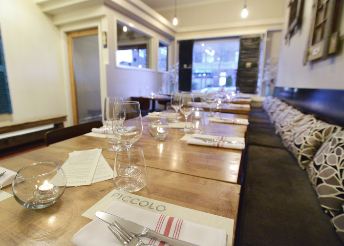 Piccolo, on Middle Street in Portland's Old Port, is a small space with seating for just 20 diners. The elegant southern Italian cuisine is prepared by chef Damian Sansonetti.