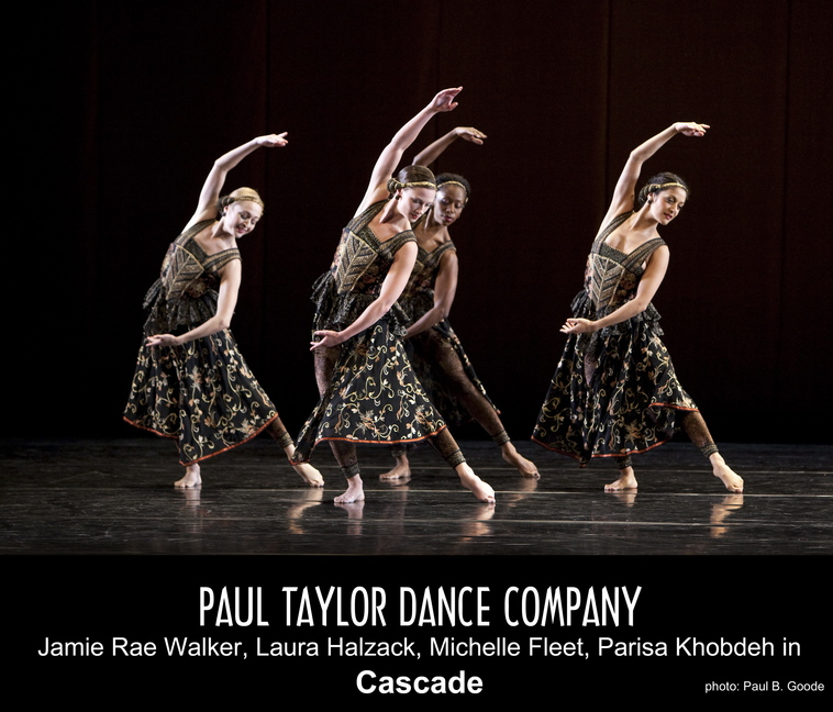 "Paul Taylor dancers Jamie Rae Walker, Laura Halzack, Michelle Fleete and Parisa Khobdeh in Taylor's ""Cascade."" The Paul Taylor Dance Company will perform on Wednesday at Merrill Auditorium in Portland."