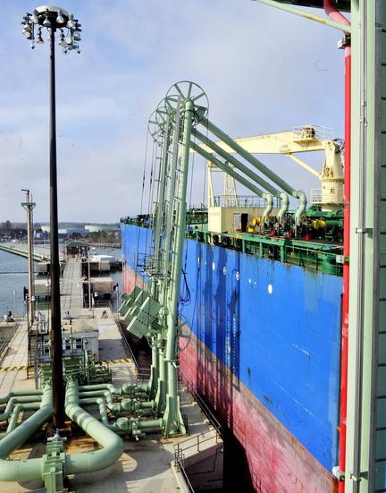 Portland Pipeline equipment unloads oil from a tanker in South Portland.