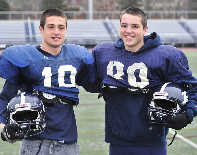 Justin Zukowski, left, a senior, and his cousin, sophomore Joe Esposito, have had an enjoyable season playing together for Portland High. They'll take the field together for the final time Thursday against Deering.