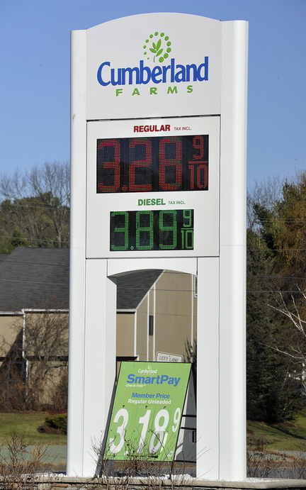 In this November 20, 2013 photo, the Cumberland Farms convenience store on Route 1 in Yarmouth. Gas prices are begin to go up again after reaching a three-year low, just in time for Thanksgiving travel.