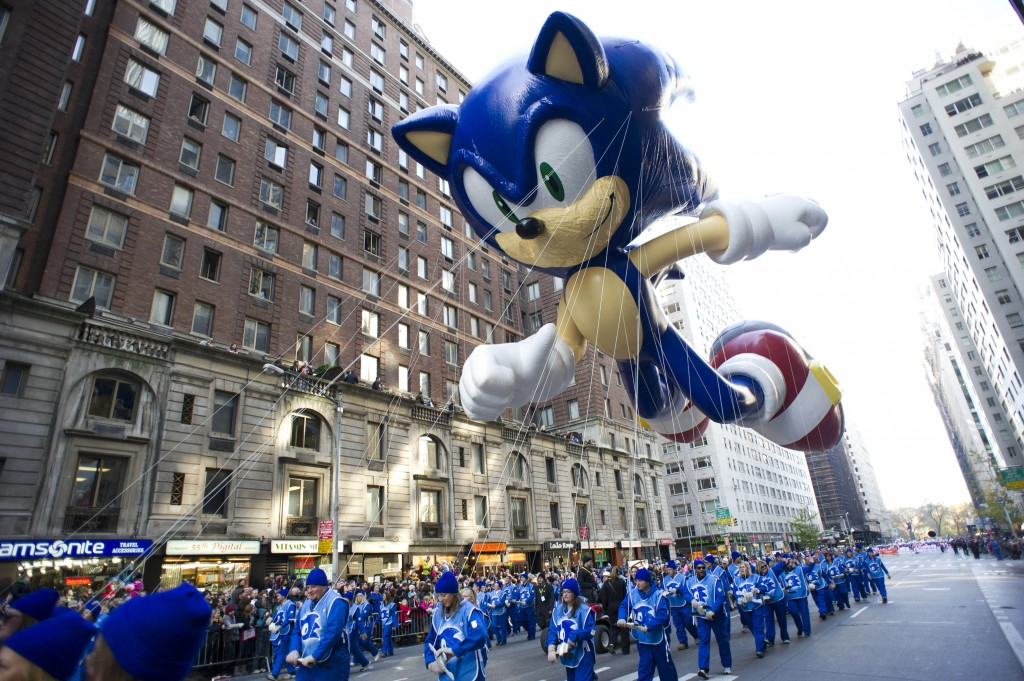 At the 2012 Macy's Thanksgiving Day Parade, handlers keep a tight rein on the Sonic the Hedgehog balloon as it travels the parade route in New York. Macy's says it is closely monitoring the weather after recent forecasts predicted wind gusts up to 30 mph on Thanksgiving morning during the department storeís upcoming Thanksgiving Day Parade. Based on New York City guidelines, no giant balloons will be operated if the wind gusts exceed 34 mph.