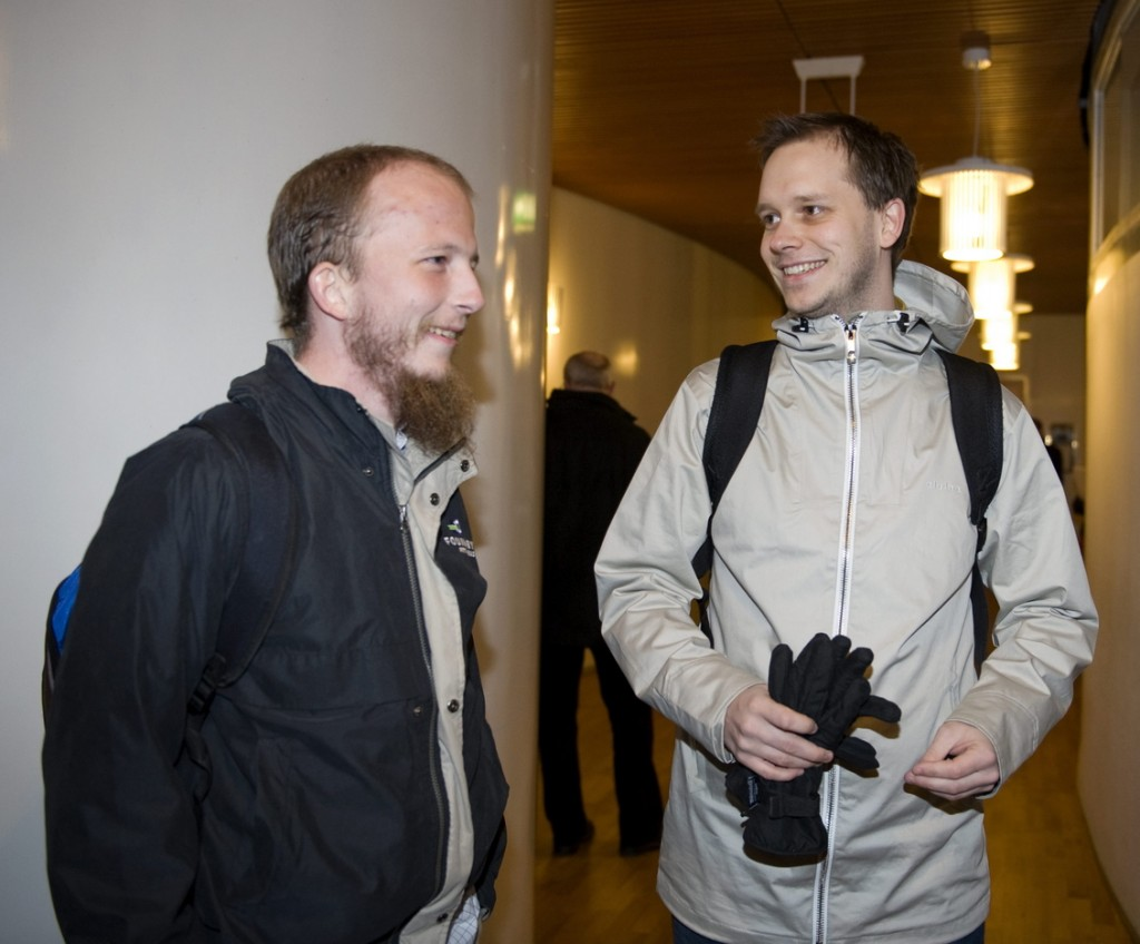 """Peter Sunde, right, who founded The Pirate Bay with Gottfrid Svartholm Warg, left, is developing Heml.is, Swedish for """"secret,"""" which is marketed as a secure messaging app for your phone. The Pirate Bay is a notorious file-sharing website."""