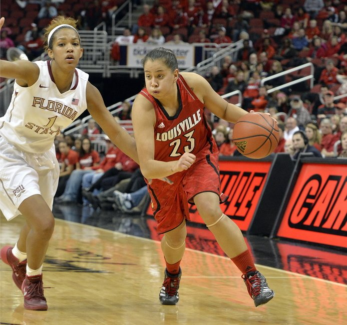Louisville's Shoni Schimmel, right, drives around the defense of Florida State's Morgan Jones during a college basketball game Sunday in Louisville, Ky. In an effort to draw more fans, Louisville coach Jeff Walz offered a voucher for a free beer or soft drink to 2,500 fans legally old enough to drink at one recent game.