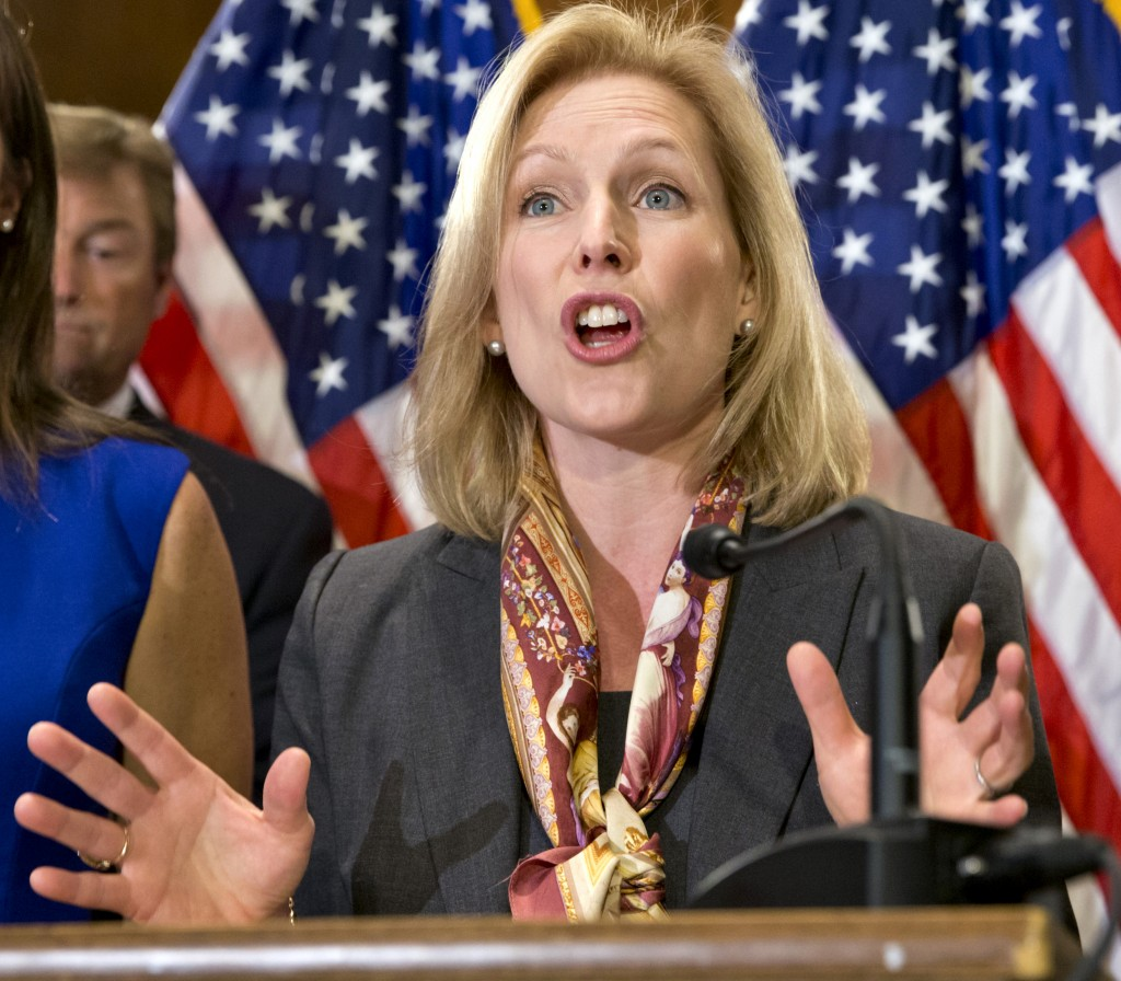 Sen. Kirsten Gillibrand, D-N.Y., speaks Tuesday at a news conference on Capitol Hill in Washington.