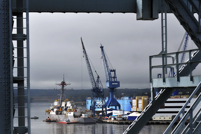 This September 2011 file photo shows Bath Iron Works. Saudi Arabian officials say they are preparing to move forward with an upgrade to the country's navy that could include a multi-billion dollar contract for the Maine ship-building company.