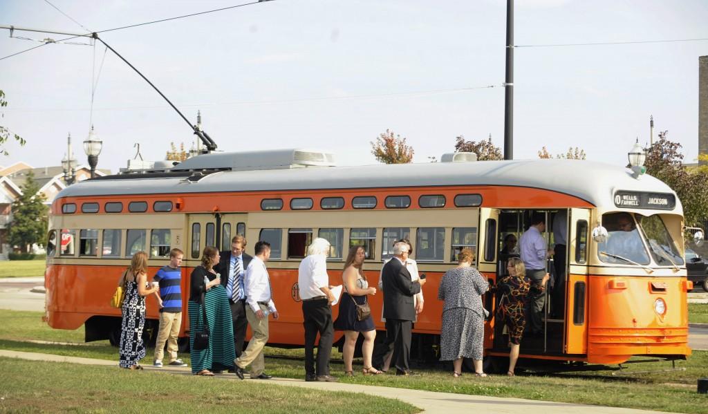 Passengers board the Johnstown (Kenosha) streetcar during Kenosha Streetcar Day in Kenosha, Wis.