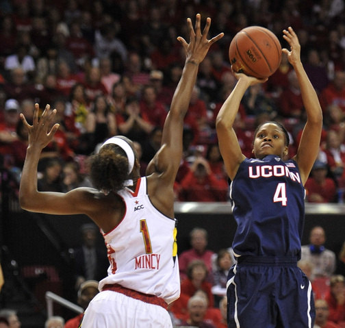 Connecticut's Moriah Jefferson shoots over Maryland's Laurin Mincy during the Huskies' 72-55 win over the Terrapins at College Park, Md., on Friday night.