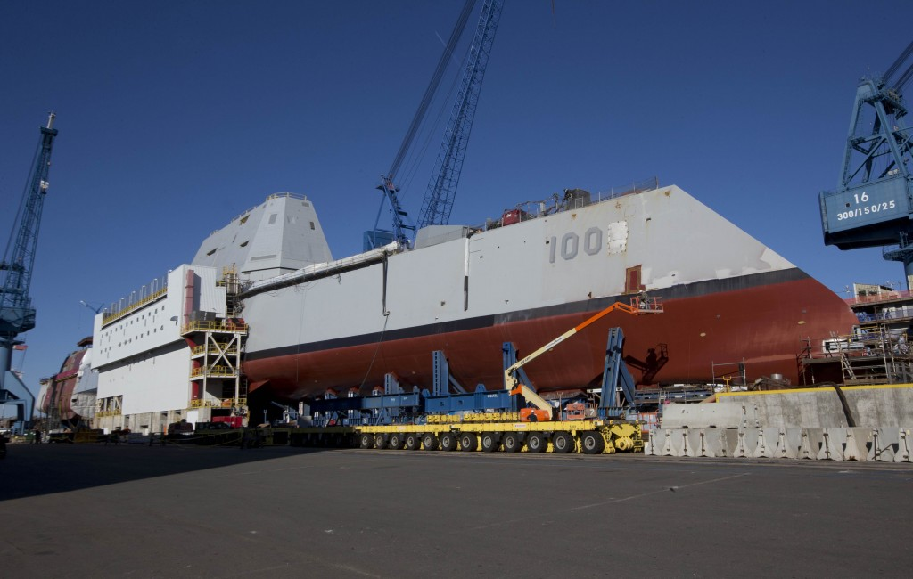 In this Oct. 8, 2013 file photo, the first-in-class Zumwalt, the largest U.S. Navy destroyer ever built, is seen at Bath Iron Works in Bath, Maine.