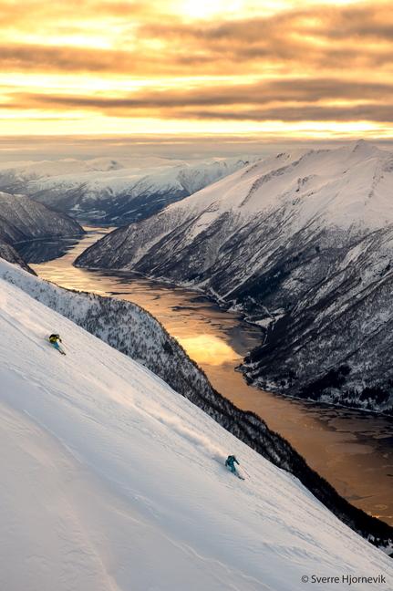 """Kaylin Richardson and Aurelien Ducroz ski in Norway in """"Ticket to Ride."""""""