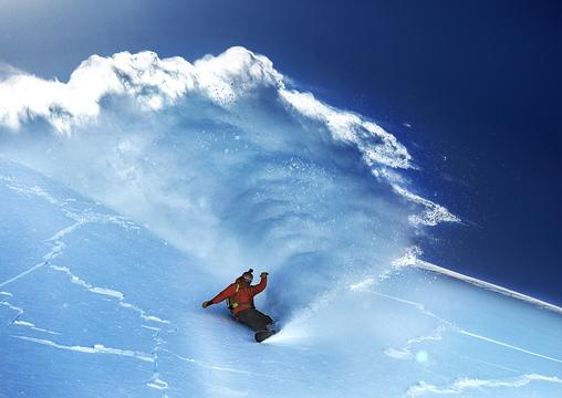 "Seth Wescott snowboards down a peak in Valdez, Alaska, in Warren Miller's film ""Ticket to Ride,"" being screened at Merrill Auditorium in Portland on Friday."