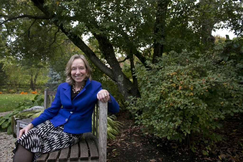 """Author Doris Kearns Goodwin poses for a portrait outside at her home in Concord, Mass. Goodwin's latest book,""""The Bully Pulpit: Theodore Roosevelt, William Howard Taft, and the Golden Age of Journalism,"""" will be released on Nov. 5."""