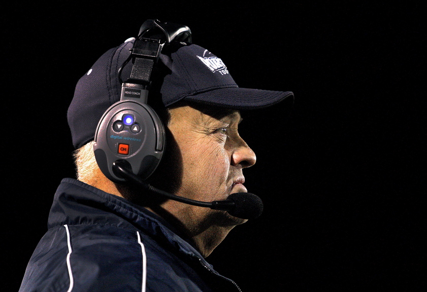 Jim Hartman, head coach of Portland's football team, looks on from the sidelines during his team's Eastern Class A football semifinal game vs. Windham at Fitzpatrick Stadium in Portland Friday, November 8, 2013.
