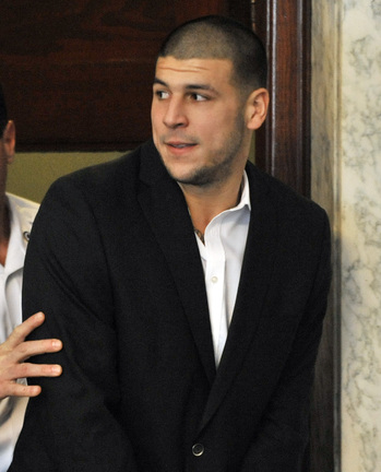 Former Patriot tight end Aaron Hernandez was out of the mix quickly, in prison and charged with murder.