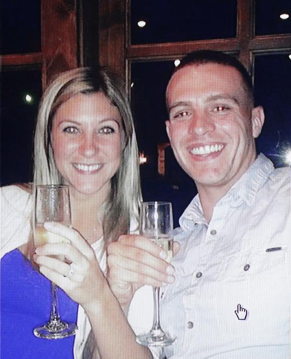 Kaila Lauzon and Kelton Miller are shown celebrating their engagement.