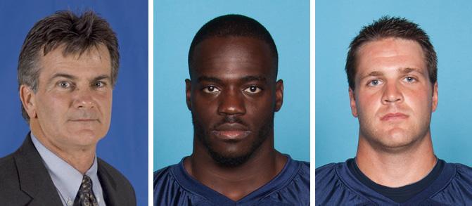 University of Maine Head Coach Jack Cosgrove, linebacker Christophe Mulumba and quarterback Marcus Wasilewski.
