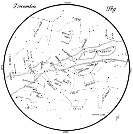 SKY GUIDE: This chart represents the sky as it appears over Maine during December. The stars are shown as they appear at 9:30 p.m. early in December, at 8:30 p.m. at midmonth and at 7:30 p.m. at month's end. Jupiter is shown in its midmonth position. To use the map, hold it vertically and turn it so that the direction you are facing is at the bottom.