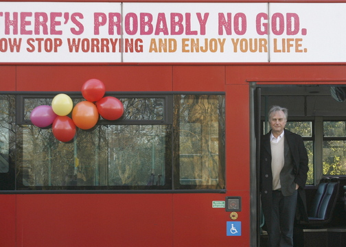 British author Richard Dawkins, who wrote The God Delusion, says telling children they are going to hell is a form of child abuse. He's shown at the launch of an atheist advertising campaign in London.