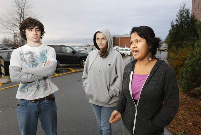 "Southern Maine Community College students talk about the idea of a ""Pay It Forward"" model Thursday in South Portland. From left, they are: Nicholas Gallup of Falmouth, Payton Bourne of Holderness, N.H., and Adeleana Bayreuther of Readfield."