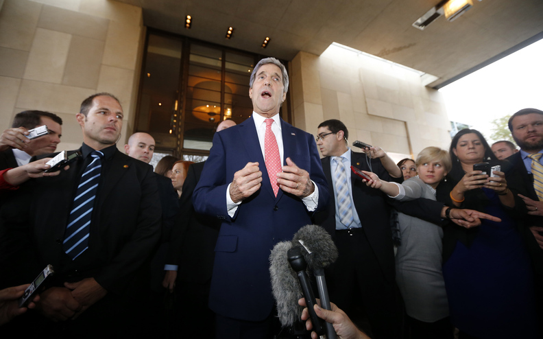 U.S. Secretary of State John Kerry speaks to the press upon his arrival in Geneva, Switzerland, on Friday. Kerry says there is no nuclear deal yet with Iran, but he's hoping to narrow gaps during negotiations.