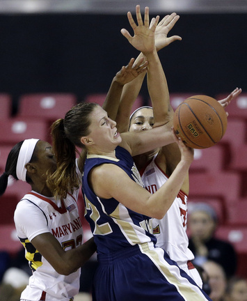 Megan Nipe of George Washington, center, collides with Maryland's Shatori Walker-Kimbrough, left, and Brionna Jones Park during the Terrapins' 87-51 win on Tuesday.