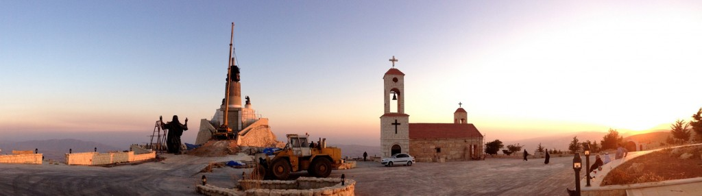 Workers prepare to install a statue of Jesus on Mount Sednaya, Syria, in this Oct. 14 photo provided by the St. Paul and St. George Foundation.