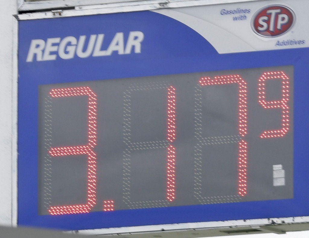 Gasoline prices dropped to $3.17 a gallon at a Manjas Marathon station in Kokomo, Ind., on Oct. 24.