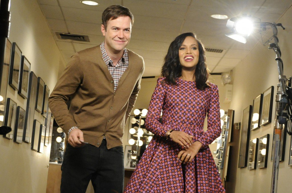 "Actress Kerry Washington of the TV show ""Scandal"" stands with ""SNL"" cast member Taran Killam during a promotional shoot."