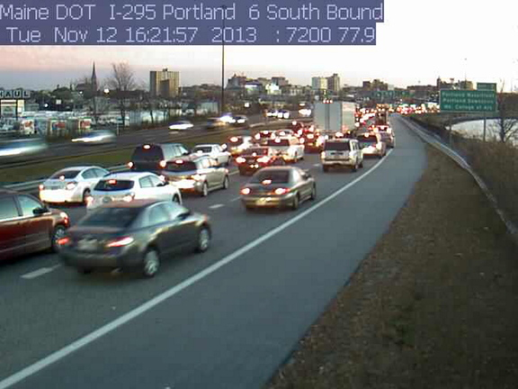 A traffic cam shows Interstate 295 backed up in Portland.
